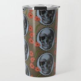 Skulls and Poppies - Red, Blue, Green - Halloween Vintage Theme Travel Mug