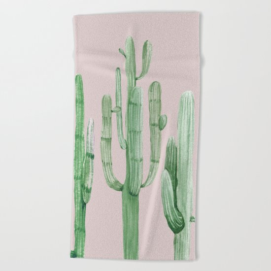 Three Amigos Green + Pink Beach Towel