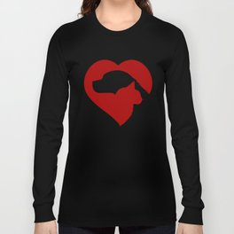 Pet Rescue Cat and Dog Red Heart of Love Long Sleeve T-shirt
