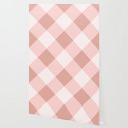 Diagonal buffalo check pale pink Wallpaper