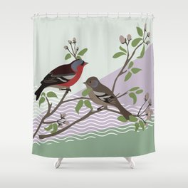 loving chaffinches Shower Curtain