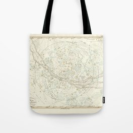 Vintage Map Print - 1840 celestial map of the Northern Hemisphere by Adolf Stieler Tote Bag