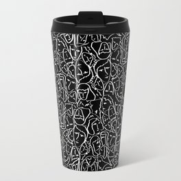 Elio's Shirt Faces in White Outlines on Black Crying Scene Travel Mug