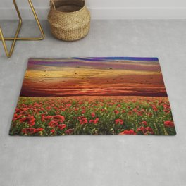 Red Poppy Meadows   Oil Painting Rug