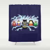 heroes Shower Curtains featuring Tiggle Heroes by Laura's Lovelies