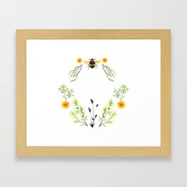 Bees in the Garden - Watercolor Graphic Framed Art Print