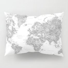 World map with labels in spanish, gray watercolor Pillow Sham