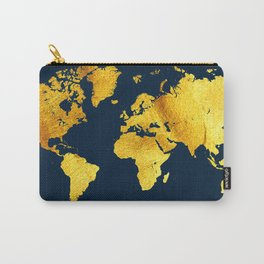 Royal Blue and Gold Map of The World - World Map for your walls Carry-All Pouch