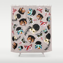 Pop Cats - Pattern French Gray Grey Shower Curtain