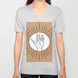 Palmistry concept with eye symbol, sun and moon phases illustration, magical universe art print Unisex V-Neck