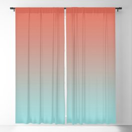Pantone Living Coral & Limpet Shell Gradient Ombre Blend, Soft Horizontal Line Blackout Curtain