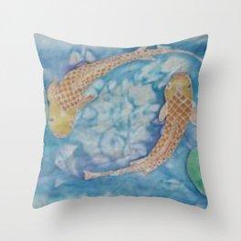 Koi Pond Batik Throw Pillow