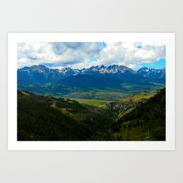 Gore Range with ranches below Art Print