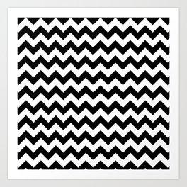 Black and White Chevron Print Art Print