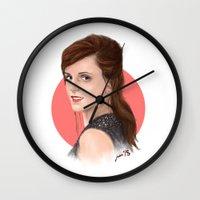 emma watson Wall Clocks featuring Emma Watson by joanpsart