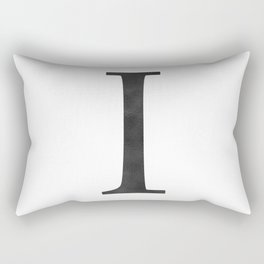 Letter I Initial Monogram Black and White Rectangular Pillow