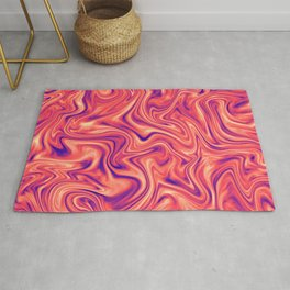 Abstract Colorful Marble Pattern Bright Living Coral, Neon Ultra Violet Rug