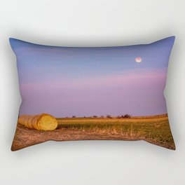 Hay Bales Under the Super Blue Blood Moon in Oklahoma Rectangular Pillow