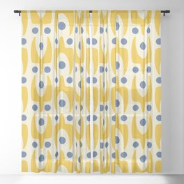 Mid Century Modern Abstract Pattern 641 Yellow and Blue Sheer Curtain