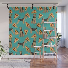 Airedale Terrier pizza pattern dog breed cute custom dog pattern gifts for dog lovers Wall Mural