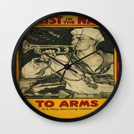 Vintage poster - Enlist in the Navy Wall Clock