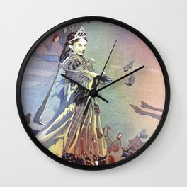 Fine art watercolor painting of girl dressed as princess and pigeons in St. Mark's Square- Venice Wall Clock