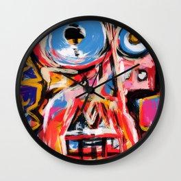 Art brut outsider underground graffiti portrait Wall Clock