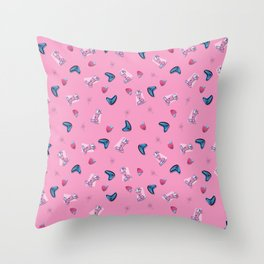 Retro Strawberry Smoothie Throw Pillow