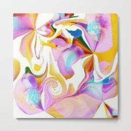Partial Negative Peach Swirl Metal Print