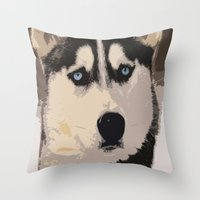 duvet cover Throw Pillows featuring DOG DUVET COVER by aztosaha