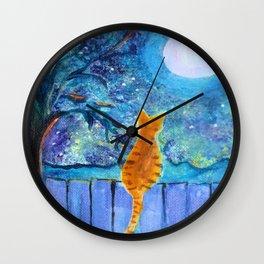 Cat in the Moonlight Wall Clock