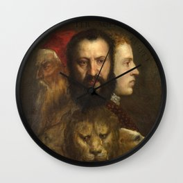 """Titian (Tiziano Vecelli) """"The Allegory of Age Governed by Prudence"""" Wall Clock"""