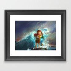 girl in the sea Framed Art Print