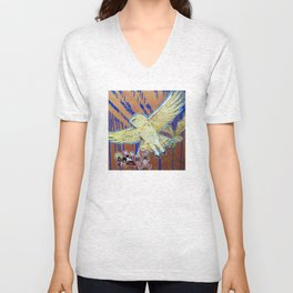 Terror - Pale Yellow Snowy Owls and Famous cartoon Mice Unisex V-Neck
