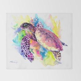 Sea Turtle in Coral Reef, tropical colors sea world purple yellow blue turtle art, turtle illustrati Throw Blanket