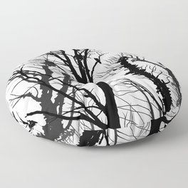 rooks and trees 2 Floor Pillow