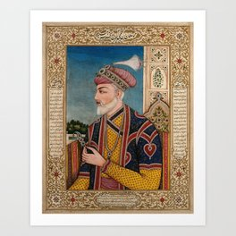 A Mughal emperor or member of a royal family holding a turban ornament in profile. Gouache painting Art Print