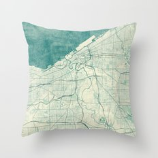 Cleveland Map Blue Vintage Throw Pillow