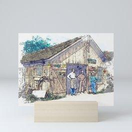 1900 - Samuel Reish (1858-1945) [Wearing Apron] and his Blacksmith Shop, Morrisonville, Illinoi wate Mini Art Print