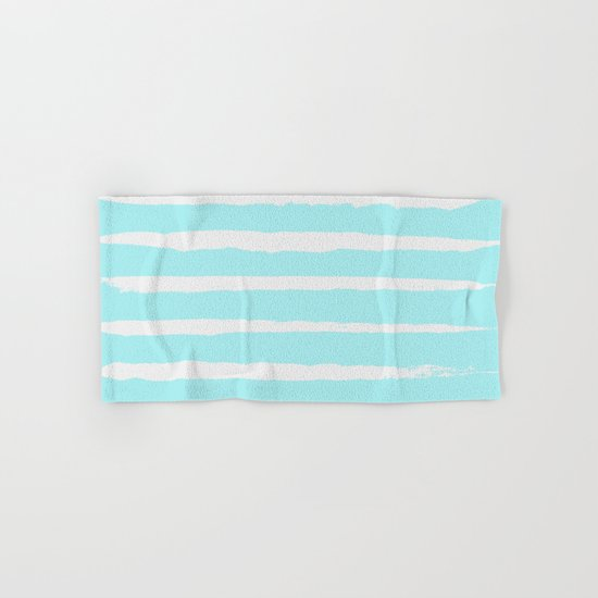 Irregular Hand Painted Stripes Mint Hand & Bath Towel