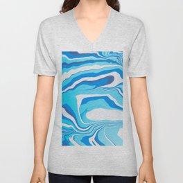 Liquid Blue Marble Unisex V-Neck