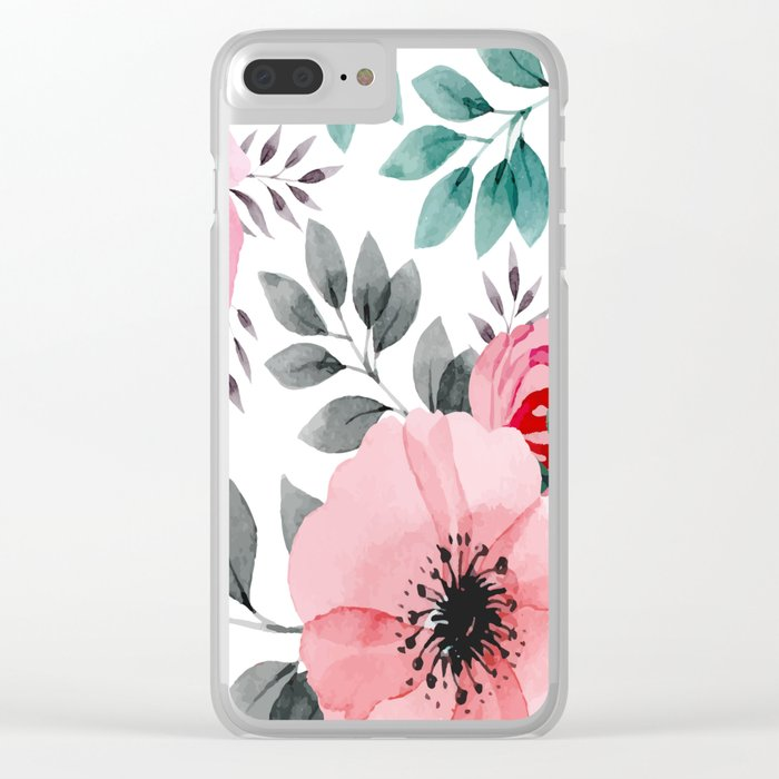 FLOWERS WATERCOLOR 14 Clear iPhone Case