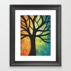 Stencil Tree Canvas Framed Art Print