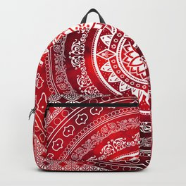 'Scarlet Destiny' Red & White Flower Of Life Boho Mandala Design Backpack