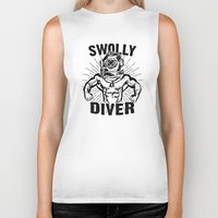 diver Biker Tanks featuring Swolly Diver by Kris Petrat Design :  Art Love Moto