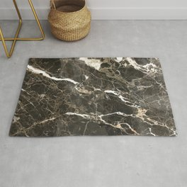 Dark Brown Marble With White Veins Rug