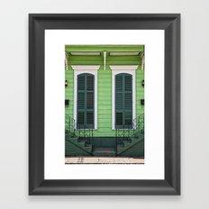 Green Creole Cottage Framed Art Print