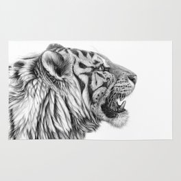 White Tiger Profile Rug
