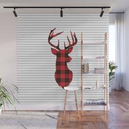 Plaid Deer Head on Minimal Stripes Wall Mural