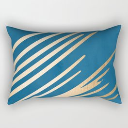 Swish - Orange Sherbet Shimmer on Saltwater Taffy Teal Rectangular Pillow